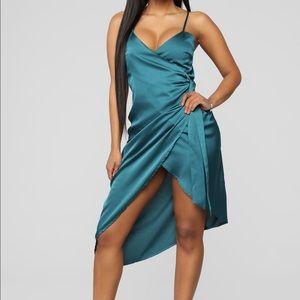 Teal green satin dress